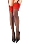 Bas couture Carmen  noir et rouge - Anne d'Alès