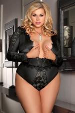 Body noir manches longues - grande taille : Body sensuel grande taille, en maille extensible soulignée de dentelle.