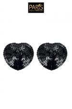Nipples noirs sequin - Paris Hollywood : Caches tétons auto-adhésifs en forme de pétale noir, recouverts de sequins brillants, pour sublimer votre poitrine.