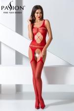 Combinaison BS057 - Rouge : Combinaison sexy rouge extensible à jarretelles.
