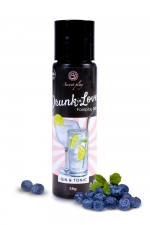 Lubrifiant arôme gin tonic - 60 ml : Lubrifiant 100% comestible de la série Drunk in Love, au gout de gin tonic signé de la marque Espagnole Secret Play.