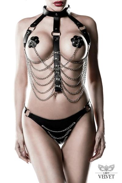 Harnais faux cuir et chaines 3 pièces - Grey Velvet