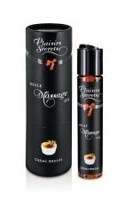 Huile de massage gourmande - Crème Brulée : Huile de massage comestible avec goût creme brulée exquis, par Plaisirs Secrets.