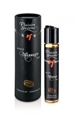 Huile de massage gourmande - Chocolat : Huile de massage comestible avec goût chocolat exquis, par Plaisirs Secrets.