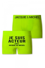 Boxer J&M Acteur : Boxer sans couture, coloris anis,  avec inscription Je suis acteur chez Jacquie et Michel sur l'arrière.