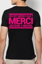 T-shirt Jacquie & Michel Rose fluo : A la demande générale, le t-shirt J&M rose Fluo pour faire la fête et briller jusqu'au bout de la nuit.