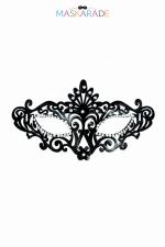 Masque semi-rigide Ballo Maschera : Masque vénitien semi-rigide, noir laqué, avec décor strass, pour vos soirées coquines et soirées déguisées, par Maskarade.