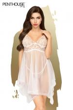 Nuisette Naughty doll blanche - Penthouse : Babydoll en dentelle transparente blanche et son string assorti, par Penthouse lingerie.