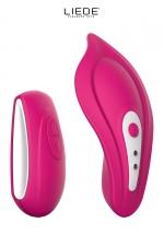Stimulateur chauffant télécommandé Panty Vibe - cerise : Luxueux mini stimulateur télécommandé chauffant avec sa culotte spéciale fournie pour un confort maxi, couleur cerise.