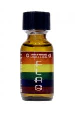 Poppers Flag 25ml : Un arôme aphrodisiaque ultra fort  au Nitrite d'Amyle, (flacon de 25 ml)aux couleurs de la communauté LGBTQ.