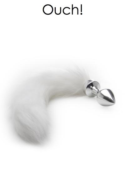 Plug métal avec queue en fourrure blanche