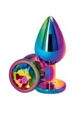 Plug anal aluminium mulitcolore M - Rear Assets : Plug anal Medium en aluminium léger, dimensions 8 x 3,4 cm, corps et bijou multicolores, marque NS Novelties.
